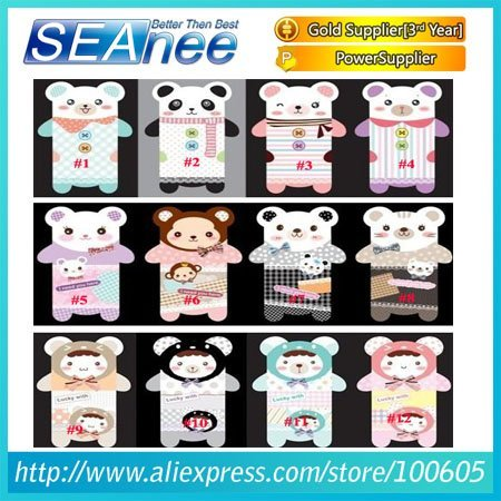 Free shipping 12 styles kawayi stereo bear TPU cover case for iphone 4, soft TPU phone case for iphone 4