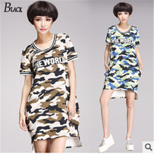 Plus Size T Shirts dress Casual Women Tops 2015 New Fashion Summer Style Shirt Short Front Long in Back Camouflage Cotton Tees(China (Mainland))