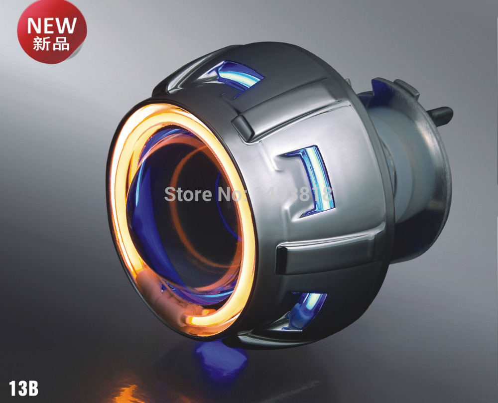 13B 35w 2'' inch bixenon projector lens Universal H4 4300k 6000k 8000k red yellow blue white double angel eyes motorcycle