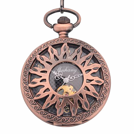 2015 New Sun Hollow Red Bronze Steampunk Retro Pendant Pocket Watch Skeleton Mechanical black watch face Open Gift - WanDa Fashion Trading Conpany store