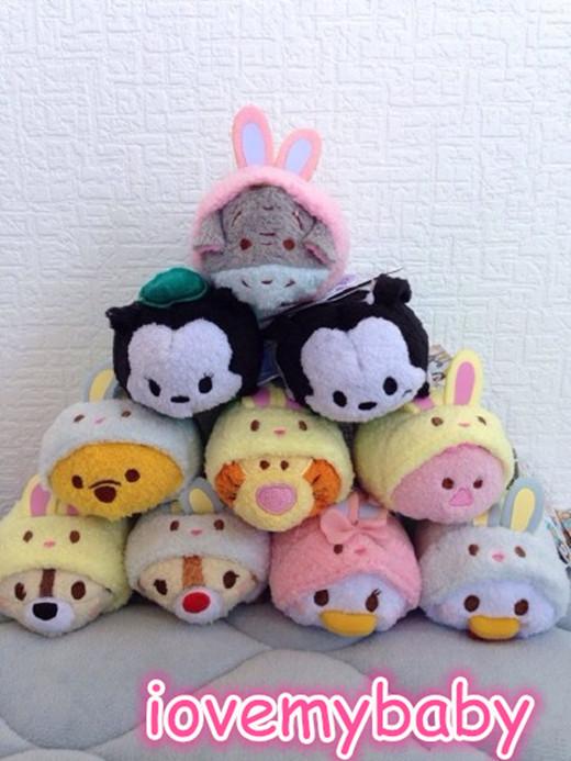 2015 TSUM TSUM Easter Rabbit Oswald Ortensia Chip Dale Donald Daisy Tigger Pig Eeyore Screen Wipe Mini Plush Toy(China (Mainland))