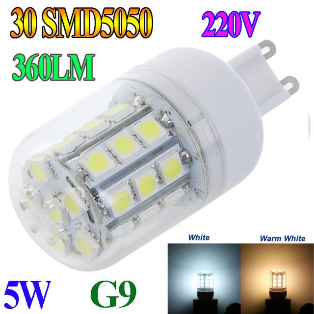 G9 5W 30 SMD5050 SMD 5050 LED Corn Light Bulb LED Lamp Warm White Or White lighting 220V 360 degree corn bulbs Free Shipping