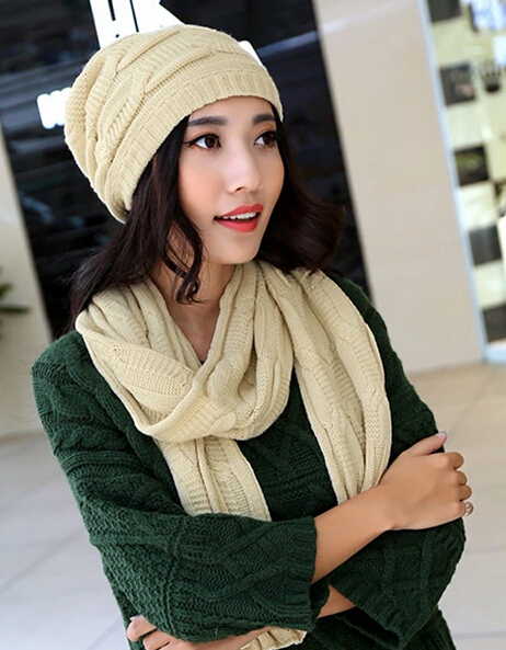 Campus style twinset female winter scarves hats young fashion women simple collocation warm scarf cap 6color 1set(China (Mainland))