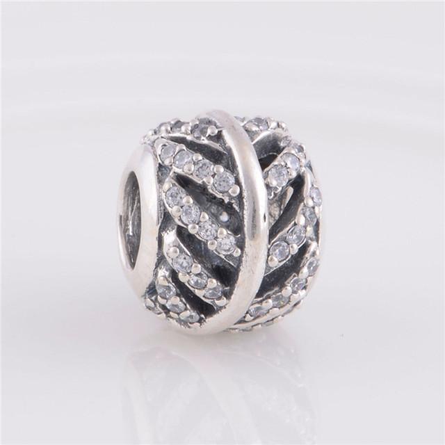 Fit пандора браслет аутентичные 925 серебряные ювелирные изделия круглый бусины оставить рисунок очарование женщин DIY мода ювелирных изделий