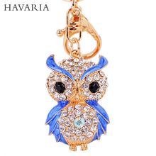 HAVARIA Luxury gifts A grade rhinestone Owl keychains women Sexy key holder chain ring car Jewelry bag pendant mty-014(China (Mainland))