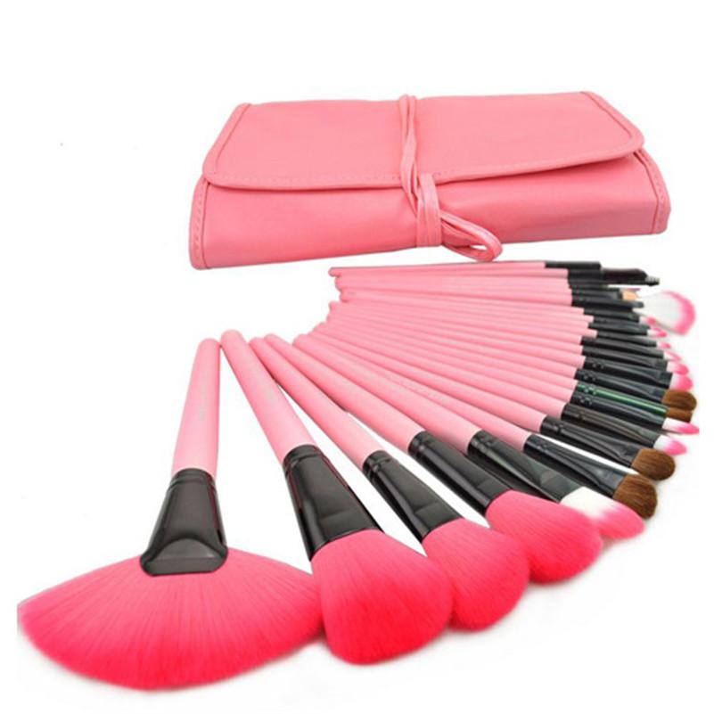 24pcs/Set Kabuki Makeup Pink Brush Set Cosmetic Foundation Face Powder Blush Brush Brush Kit + Makeup Brush Case(China (Mainland))
