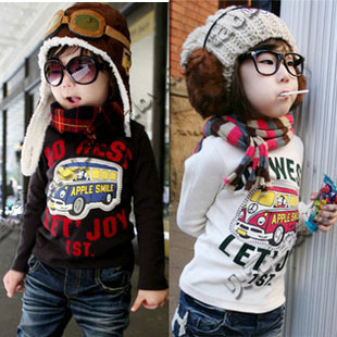 2012 autumn car male girls clothing baby long-sleeve T-shirt basic shirt tx-0004