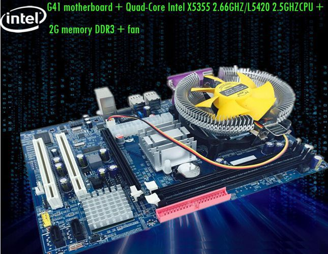 Free shipping new G41 motherboard + Xeon (X5355 2.66GHZ or L5420 2.5GHZ Random) CPU + 2G memory DDR3 + fan Set Specials(China (Mainland))