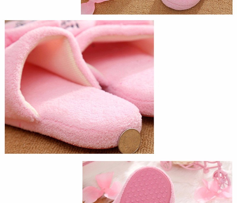 women home slippers for winter floor cotton slippers warm fur soft coral thermal pregnant shoes woman bowtie hot sale