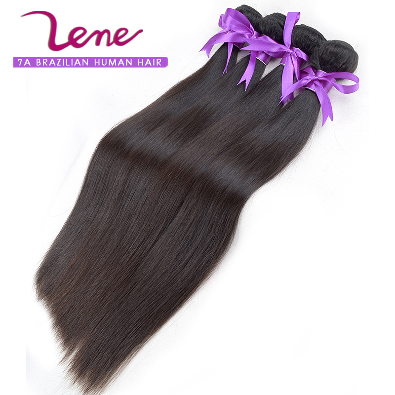 Lene hair 100 real natural remy straight black brazilian hair shed free Easy to dye best price brazilian virgin hair straight(China (Mainland))