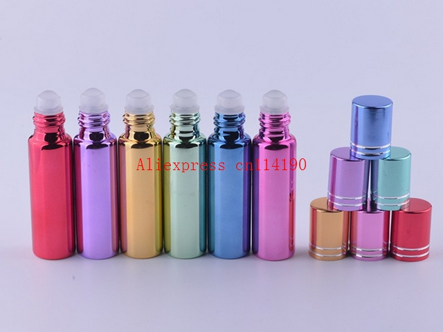 Brand new 200pcs 10ml glass perfume bottles wholesale refillable roll on bottles for essential oils glass vials with roller ball(China (Mainland))