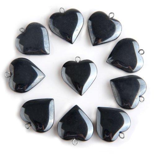 20 X Black Hematite Man-made Created Gemstone Heart Pendants Beads 20mm HOT(China (Mainland))