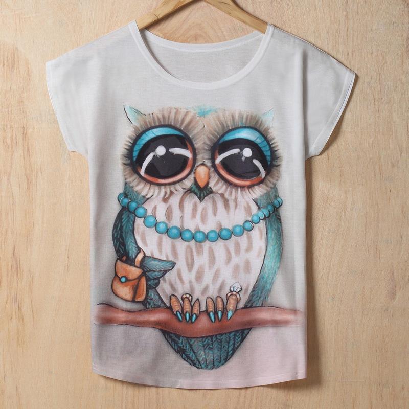 Vintage 2015 New European Style Printing Women shirt O-neck Fashion Owl  Short sleeve print T-shirt women T shirt TopsОдежда и ак�е��уары<br><br><br>Aliexpress