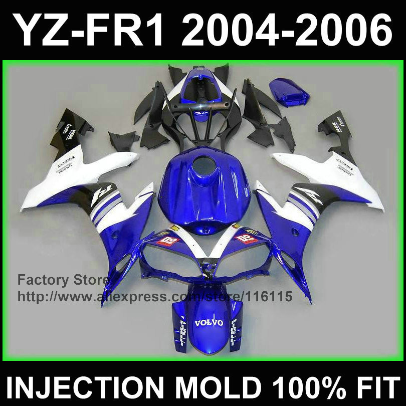 Injection fairing kit for YAMAHA blue white VOLVO Customize fairings YZF R1 2004 2005 2006 yzf r1 04 05 06 bodyworks+7Gifts(China (Mainland))