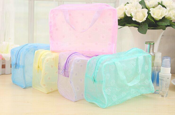 Fashion Portable Flower Translucence Storage Bag PVC Small Travel Cosmetic Bag Waterproof Toiletry Kits(China (Mainland))