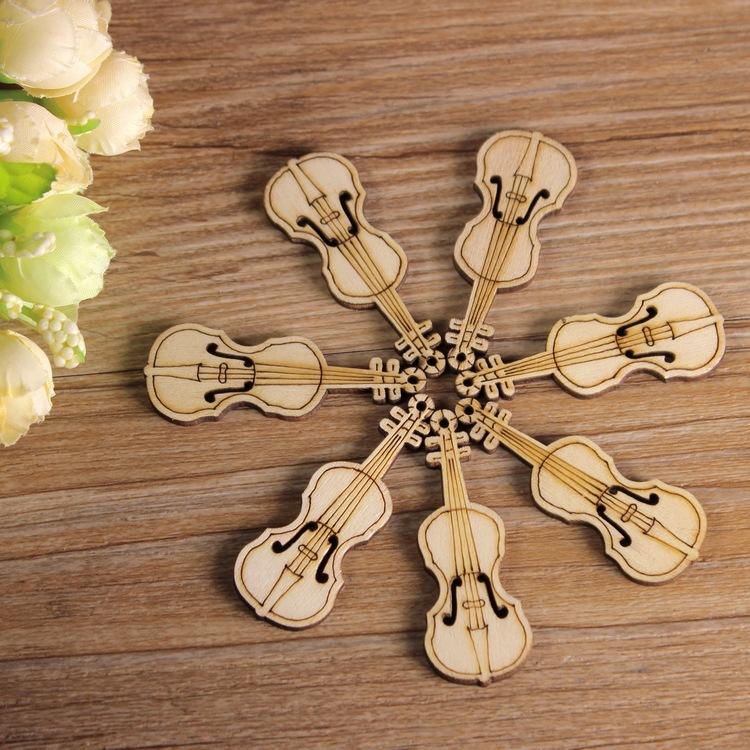 Wooden Button Mix 50pcs guitar pattern 20x55mm Scrapbooking Sewing Accessories artesanato botoes Arts Crafts buttons wholesale(China (Mainland))