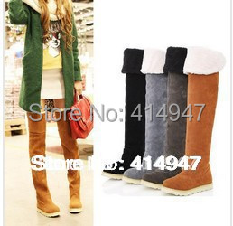 2014 Quality Upgrade!Super thick Suede Boots,women's warm winter Boots Shoes woman,65 cm plus big size 35-43 over the knee boots
