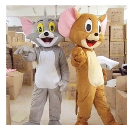 New Tom Cat and Jerry Mouse mascot costume, Tom and Jerry cartoon dolls performance clothing Free Shipping(China (Mainland))