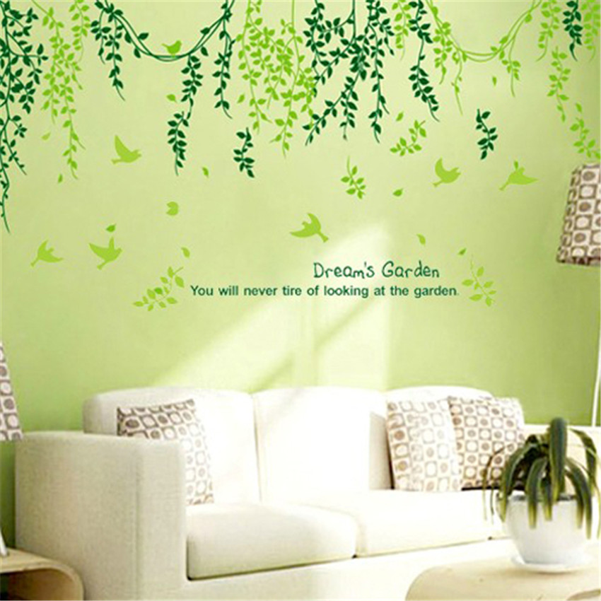 Plant modern wall sticker green leaves curtain wall for Decoration autocollant mural