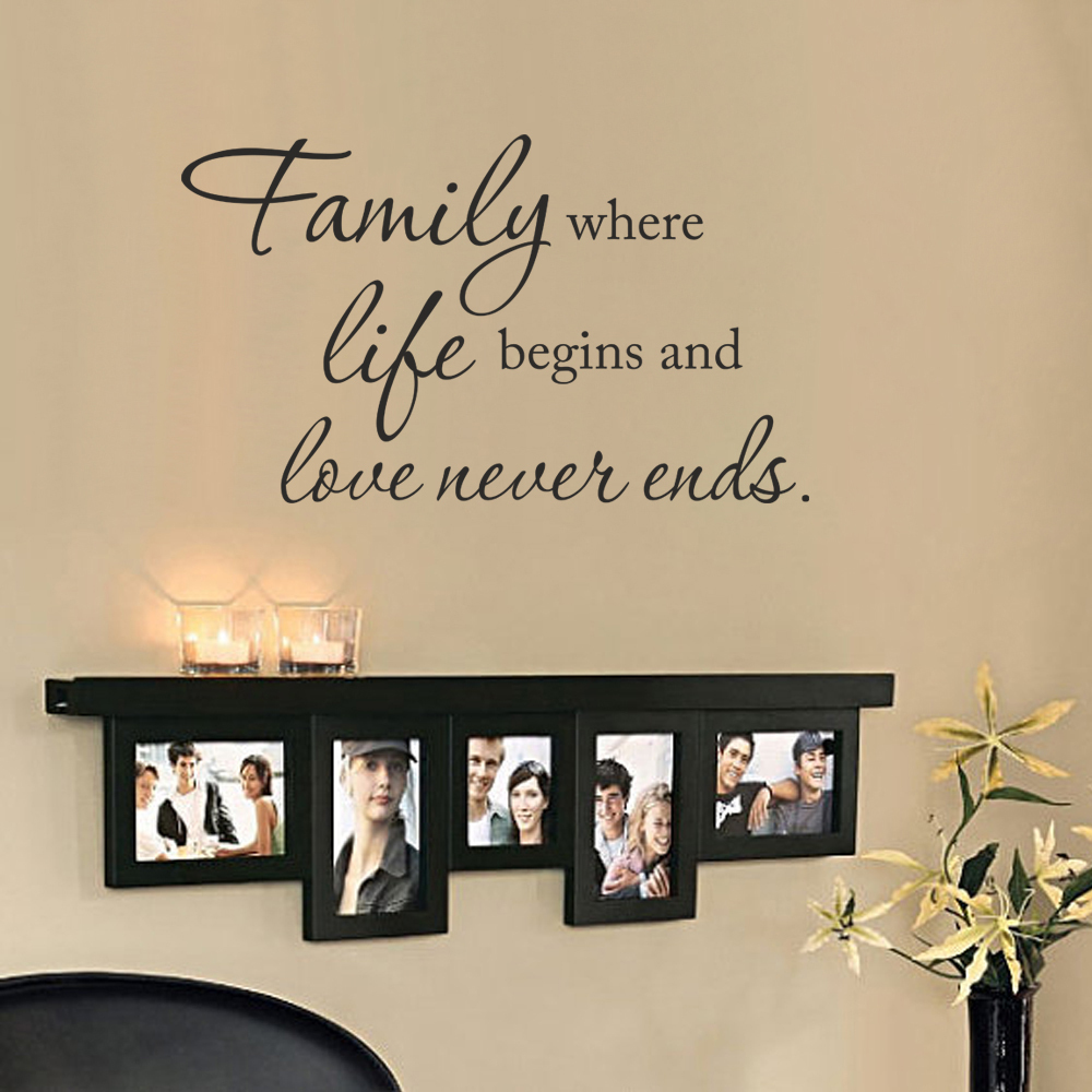 Vinyl wall saying family where life begins and love never for Lovers home