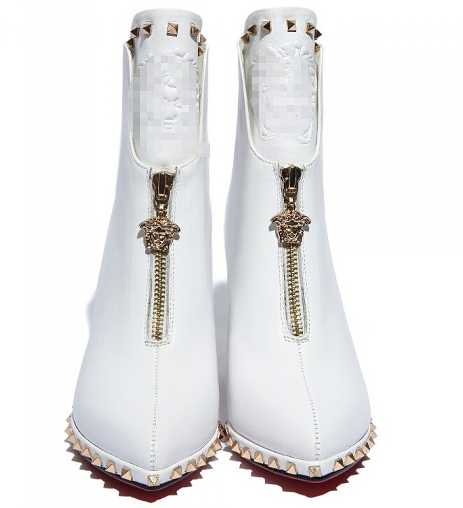 2015 new fashion waterproof New autumn and winter high-heeled Chelsea boots pointed boots white leather front zipper boots<br><br>Aliexpress