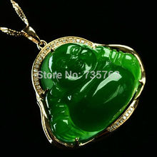 xiuli 0015250 necklace pendant chinese hetian green jade jasper 18K gold happy smile buddha (c0323)(China (Mainland))