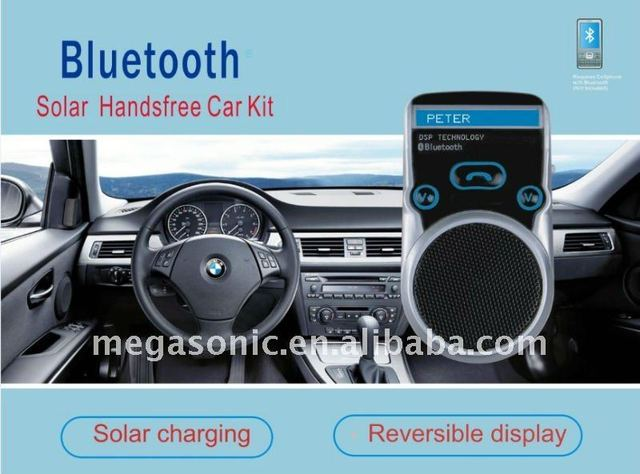 Solar Powered bluetooth car kit with TTS and Voice dial function