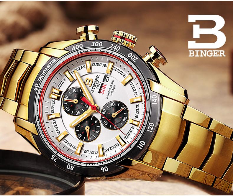 2016 Бингер Человек Часы Мужчины Люксовый Бренд Подлинная Наручные Часы Кожаный Ремешок Мужские Кварцевые Часы Мужской Розового Золота relogio relojes Часы