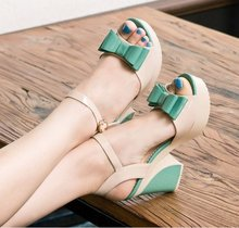 2015 Sapato Feminino Women Shoes Spring And Summer Bow Japanned Open Toe Sandals Female Thick Heel High-heeled Shoes Women's (China (Mainland))