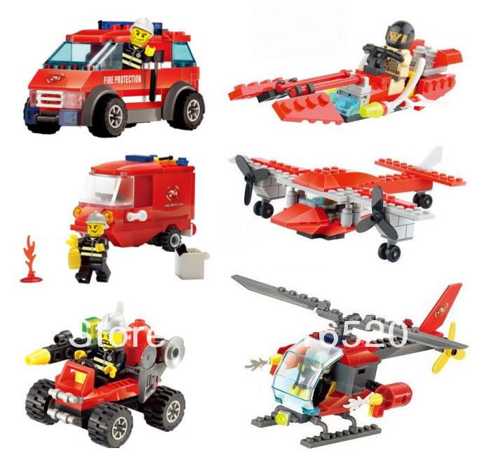 Kazi Fire Rescue Helicopter Car 6pcs/lot Building Block Sets Educational Jigsaw DIY Construction Bricks toys for kids children(China (Mainland))
