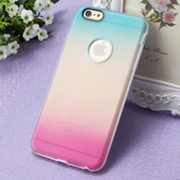Hybrid TPU Plastic Case for Apple iphone 6 4.7 case Gradual Change Rainbow back cover for iphone6 wholesale price 10 pcs a lot(China (Mainland))