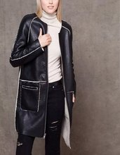 NRB65 Fashion women winter thick warm Black Faux leather fur Two-sided wear long jacket coat zipper O-neck pocket casual brand(China (Mainland))