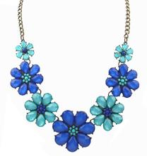 Vintage Jewelry 3 Colors Rhinestone Flower Choker Necklace For Woman 2015 New Statement Necklaces Christmas Gift