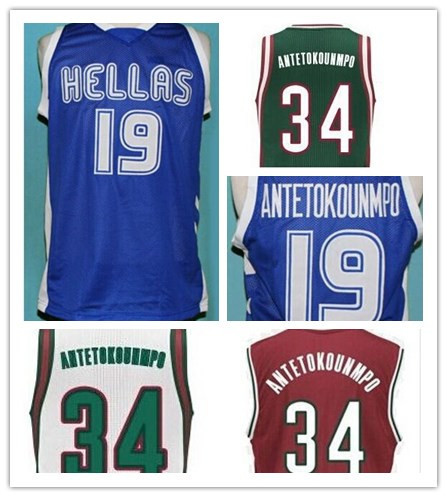 #19 GIANNIS ANTETOKOUNMPO TEAM GREECE Basketball Jersey Custom any Size,Number name Stitched High Quality XS-4XL(China (Mainland))