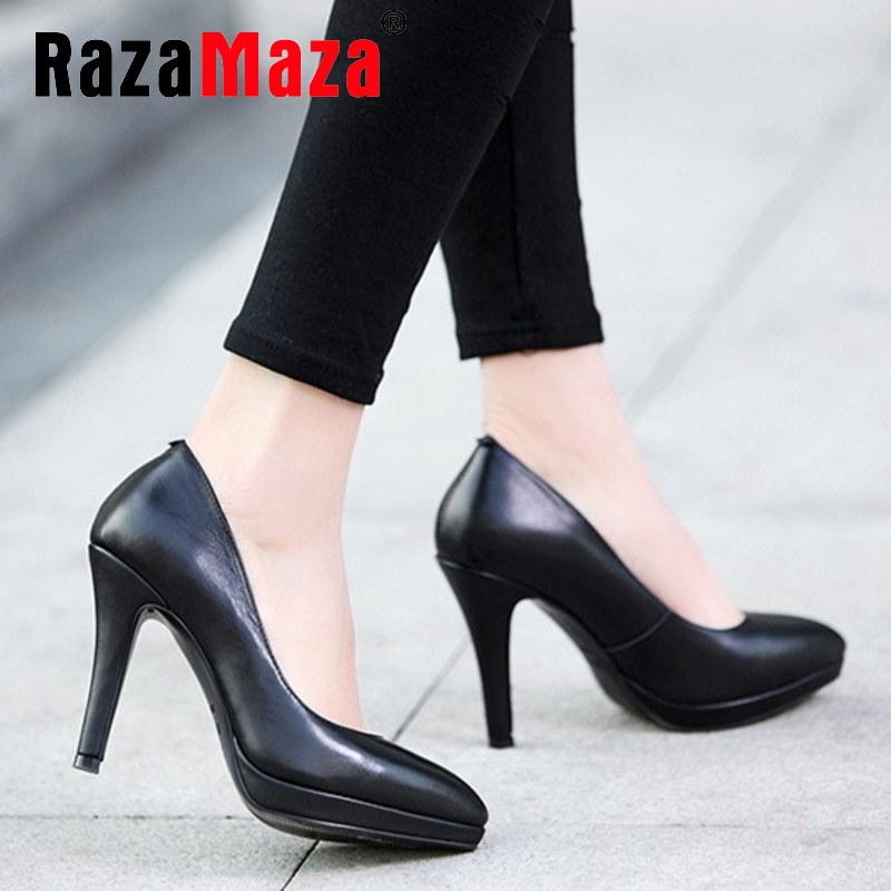 women real genuine leather stiletto platform high heel shoes sexy fashion brand pumps ladies heeled shoes size 34-39 R5589<br><br>Aliexpress