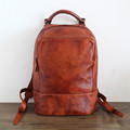 Unisex 100 Genuine Vegetable Tanned Leather Backpacks Genuine Leather Vintage Backpack Brown Bags Male Female Fashion