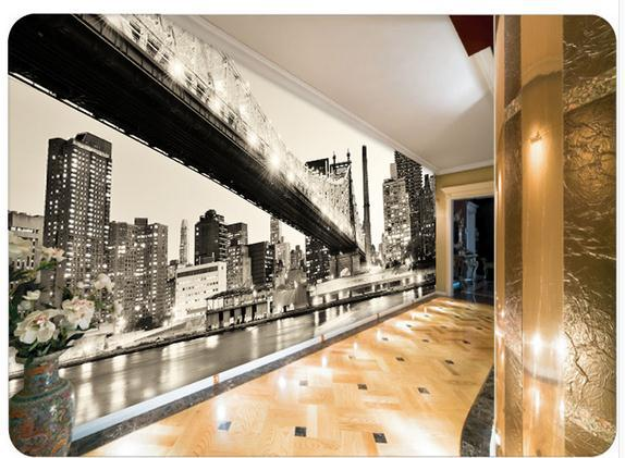 Black and white panorama of new york city night 3d for Black and white new york mural wallpaper