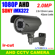 AHD 1080P 2.MP high performance security camera varifocal zoom lens 2.8-12mm IR-CUT OSD cable strong wall-mounted bracket(China (Mainland))