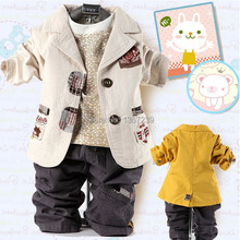 Best retail selling children's Clothing Sets cotton coat+T-shirt+pants 3pcs baby boy kids suit sets kids jacket 3pcs Freeshiping(China (Mainland))