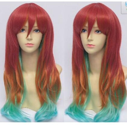 Free shipping>>>No Game No Life Stephanie Dora Rainbow Gradient Cosplay Wigs