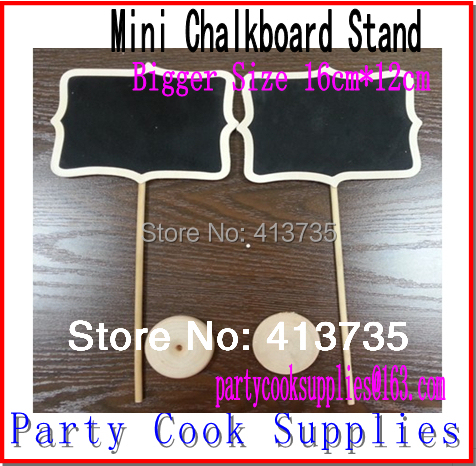 New Product !10pcs16x12cm Larger Mini Blackboard Chalkboards Stand on Stake/Labels Candy/Lolly Buffet/Wedding Party Decorations(China (Mainland))