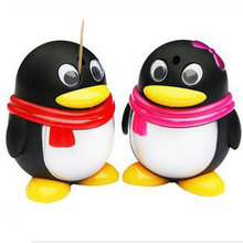 Lovely Cartoon Penguin Automatic Toothpick Holders Creative Tooth Picks Box Home Decoration Birthday Gifts(China (Mainland))