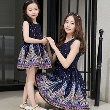New 2016 family look mother daughter dresses cotton sleeveless matching family clothes dresses for girls women mommy and me