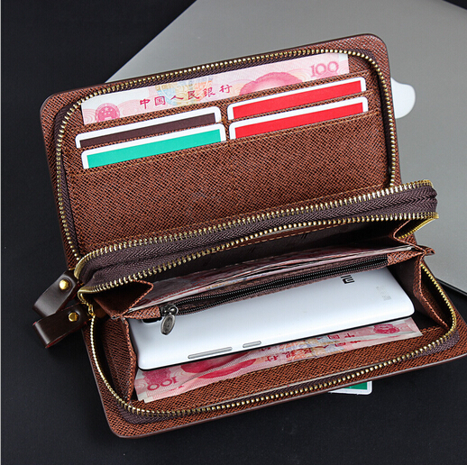 High Grade Genuine Leather Men s Clutch bag Large Capacity Business Men Handbags Double Zipper With