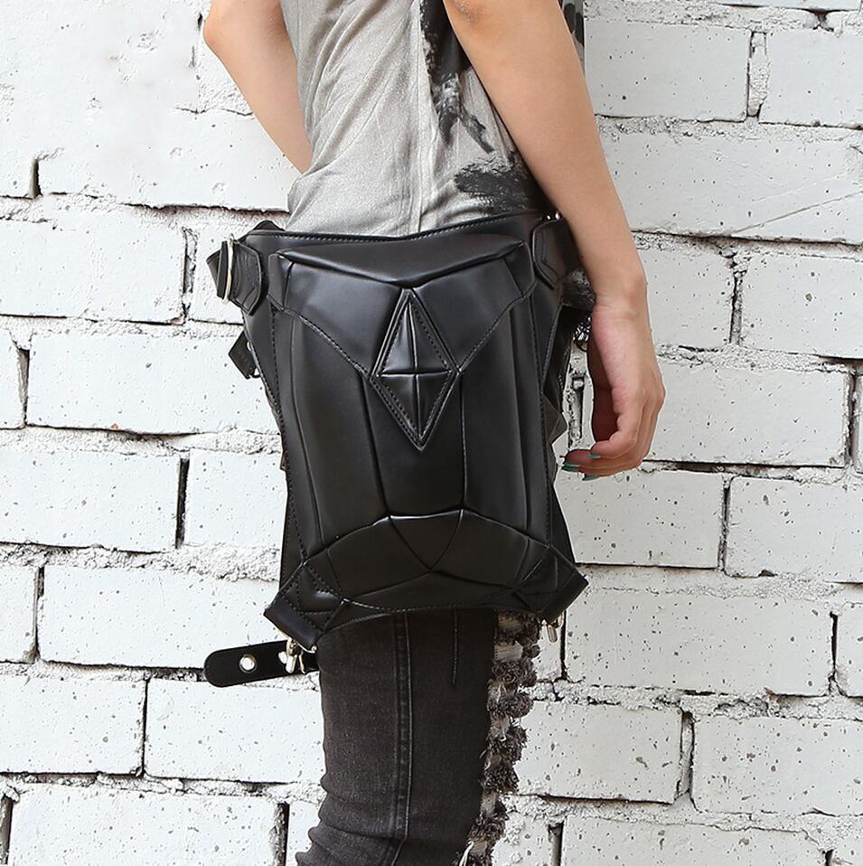 RHYME Fashion Gothic Steampunk Retro Rock Bag Leather Shoulder bag Men Women Waist Bolso Phone Case Holder Sac(China (Mainland))