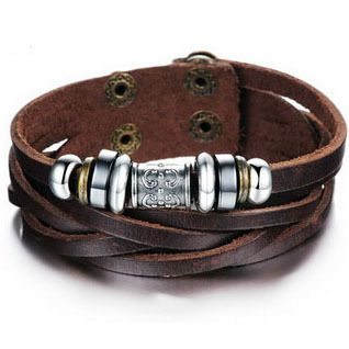 Brown triple wrap leather bracelet for men(China (Mainland))