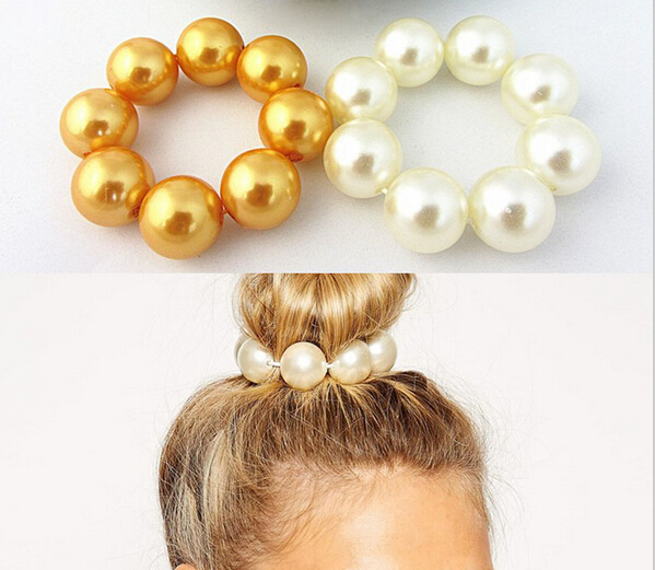 Wholesalefashion Women Hair Pearl Ponytail Holder Ring Tie Elastic Hair Band Rope Accessories Hairbands for women(China (Mainland))