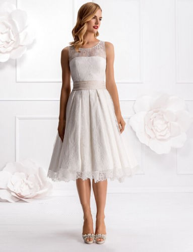 Free shipping new lace ivory white wedding dress bridal for Ivory knee length wedding dresses