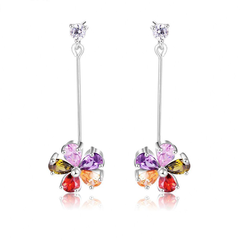 2016 New Arrival Flower AAA Zirconia Long Pendant Earring Jewelry For Woman Gift Boucle D'oreille Femme Fashion CER0202-B(China (Mainland))