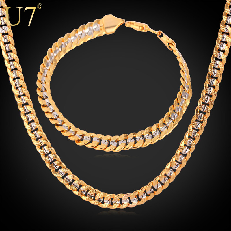 """Two Tone Gold Plated Necklace Set With """"18K"""" Stamp Party Jewelry Wholesale Cuban Chain Necklace Bracelet Men Jewelry Set S566(China (Mainland))"""